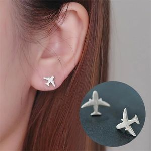 🎉 New Silver Plated Plane Stud Earrings